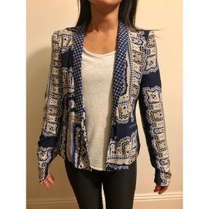 Zara paisley silk blazer XS